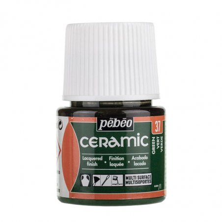 Краска-эмаль лаковая непрозрачная Ceramic Pebeo 37, цвет - зеленый