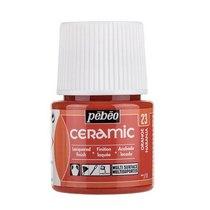Краска-эмаль лаковая непрозрачная Ceramic Pebeo 23, цвет - оранжевый, 45мл.