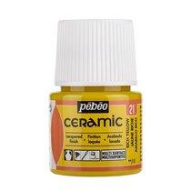 Краска-эмаль лаковая непрозрачная Ceramic Pebeo 21, цвет - насыщенный желтый, 45мл.