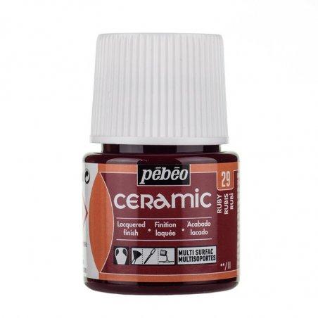 Краска-эмаль лаковая непрозрачная Ceramic Pebeo 29, цвет - рубиновый