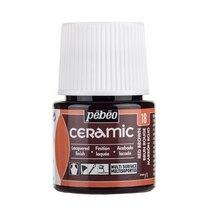 Краска-эмаль лаковая непрозрачная Ceramic Pebeo 18, цвет - коричневый, 45мл.