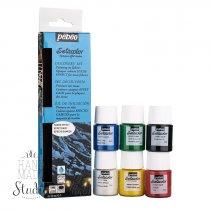 Набор красок Pebeo Setacolor Suede Effect, 6*20 мл.