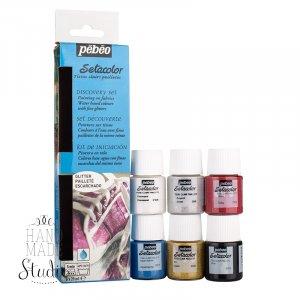 Набор красок Pebeo Setacolor Glitter, 6 цветов