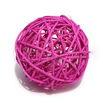 Шарик из ротанга, цвет темно-розовый, 3 см.