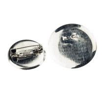 Основа для брошки  круглая 2 см, цвет - сталь, 1шт