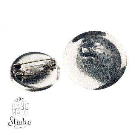 Основа для брошки  круглая 2 см, цвет - сталь