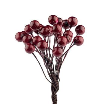 Ягода декоративная лаковая, цвет бордовый