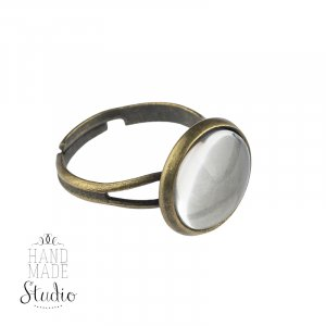 Основа для кольца 1,2 см с линзой, цвет - бронза