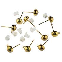 Пуссеты (сережки-гвоздики) с силиконовой заглушкой, цвет - золото, 10 шт