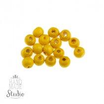 Деревянные бусины, цвет - желтый, 0,7 см