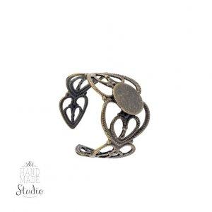 Ажурная основа для кольца с платформой, цвет -  бронза
