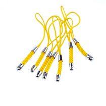 Подвеска для мобильного телефона, цвет желтый с плетением