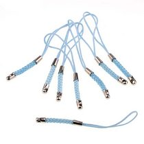 Подвеска для мобильного телефона, цвет голубой с плетением