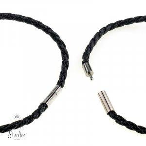 Основа для браслета, плетеная с замком, цвет черный