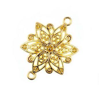 Коннектор ажурный Цветок, цвет - античное золото