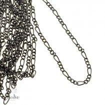 №21 Цепь с плетением  Фигаро, 7*3 мм, цвет - черный