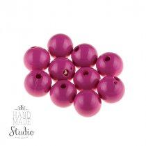 Пластиковые бусины глянцевые, цвет темный розовый,1 см, №22
