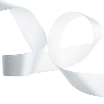 Атласная лента, цвет белый, 50 мм