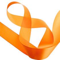 Атласная лента, цвет яркий оранжевый, 50 мм