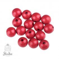 Пластиковые бусины глянцевые, цвет красный,0,8 см, №1