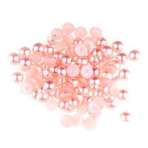Пластиковые полубусины, нежно-розовый перламутр, 0,6 см, 10 г