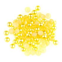 Пластиковые полубусины, желтый перламутр, 0,6 см