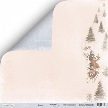 """Лист двусторонней бумаги 30x30 """"Веселье из коллекции Shabby Winter"""""""