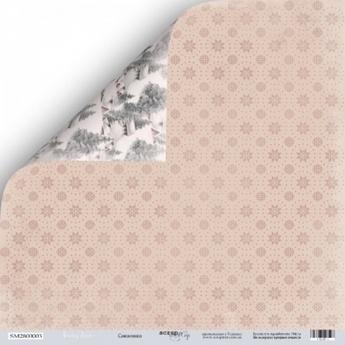 """Лист двусторонней бумаги 30x30 """"Дамаск из коллекции Little bear"""""""