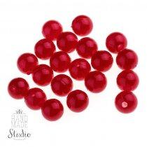Пластиковые перламутровые бусины, цвет темно-красный 1 см