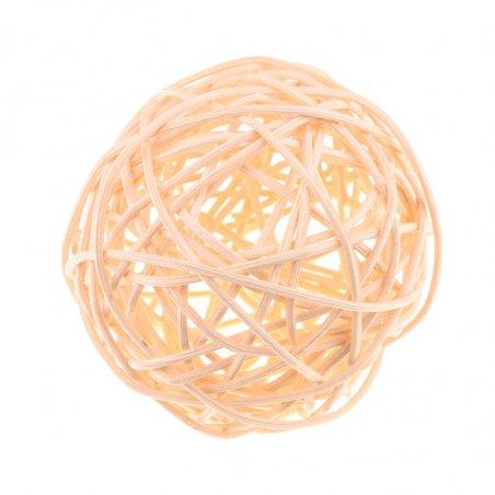 Шарик из ротанга, цвет персиковый, 3 см.
