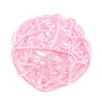 Шарик из ротанга, цвет светлый розовый, 5 см.