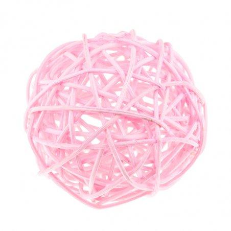 Шарик из ротанга, цвет светлый розовый, 7 см.