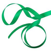 Атласная лента, цвет зеленый, 12мм, 1м.