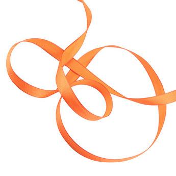 Атласная лента, цвет оранжевый, 12мм