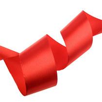 Атласная лента, цвет красный, 50 мм, 1м.