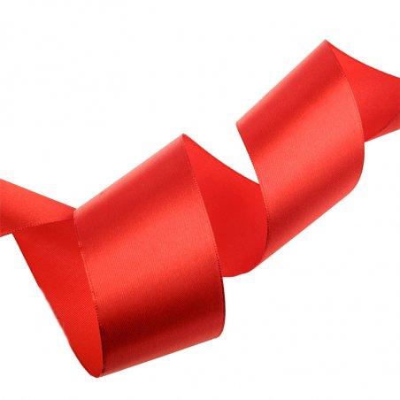 Атласная лента, цвет красный, 50 мм