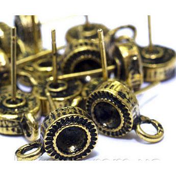Швензы для сережек ажурные с  черной платформой, цвет бронза, d 2 см