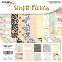 Набор двусторонней бумаги 20х20см от Scrapmir Simple Flowers 10шт.