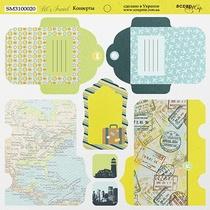 Лист двусторонней бумаги 20х20см Конверты Let's Travel от Scrapmir, 190г/м2, 1 лист