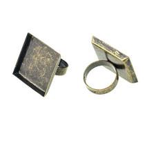 Основа для кольца с квадратной платформой, бронза 25х25 мм