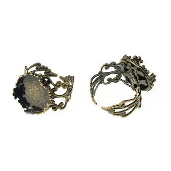 Ажурное кольцо с платформой 15 мм, цвет бронза