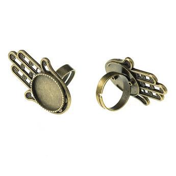 Основа для кольца с платформой Хамса, цвет -  бронза