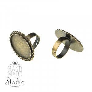 Основа для кольца с платформой 25*18 мм, цвет - бронза