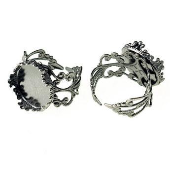 Основа для кольца с платформой-сердцем 2,5х2,5 см, цвет - сталь