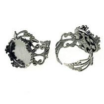 Ажурное кольцо с платформой 15 мм, цвет темная сталь
