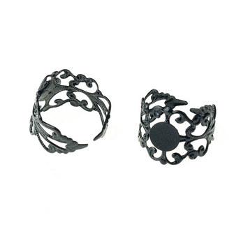 Ажурная основа для кольца с платформой, цвет - серебро
