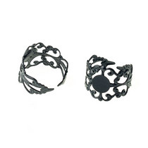 Ажурная основа для кольца с платформой, цвет - черненая сталь