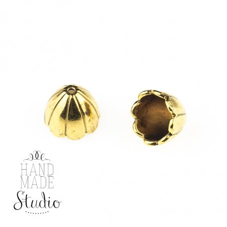 Колпачок (обниматель) для бусин, цвет античное золото