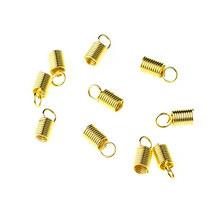 Зажим-пружинка для шнура 4 мм, цвет - золото