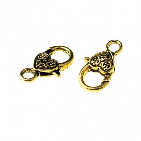 Карабин (замок) сердце, цвет - античное золото 26 мм